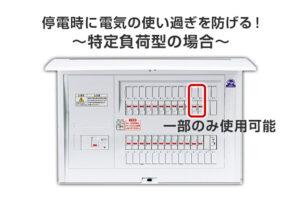 """停電時に決められた場所にだけ電気を供給するのが""""特定負荷型"""""""