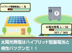太陽光発電はハイブリッド型蓄電池と相性バツグンだ!!