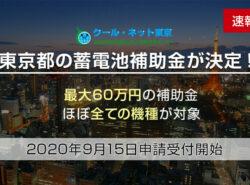 2020年度東京都の蓄電池補助金を徹底解説!最大60万円+ほぼすべての機種が対象