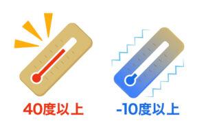 極端に高温・低温にならない場所
