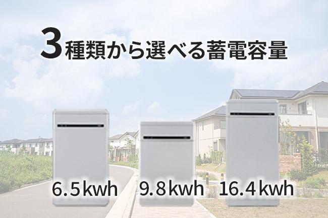 蓄電容量を選ぶ (6.5kWh / 9.8kWh / 16.4kWh)
