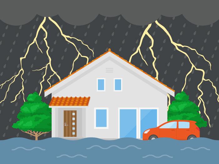 台風、大雨などの緊急災害時でも太陽光発電の自立運転機能があれば安心です