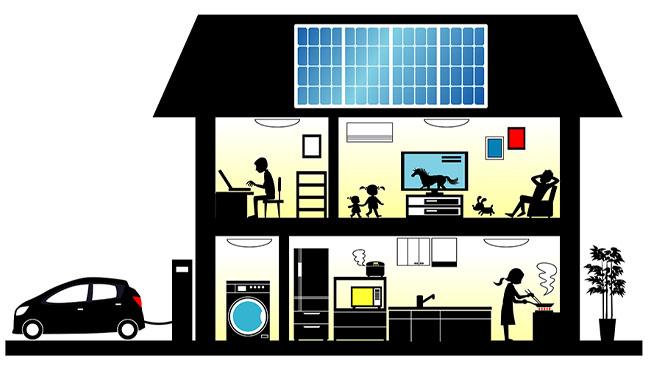 昼間は太陽光発電の電気で、夜間は電気自動車の電気で生活